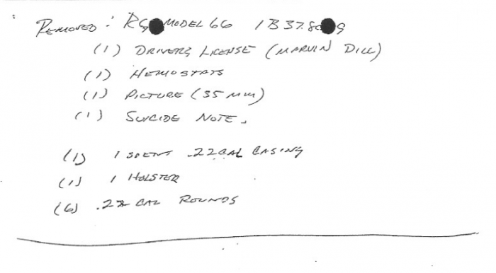 RG 66 gun, driver license, suicide note, hemostats, 35 mm photo, holster, one spent .22 casing, six unspent .22 rounds